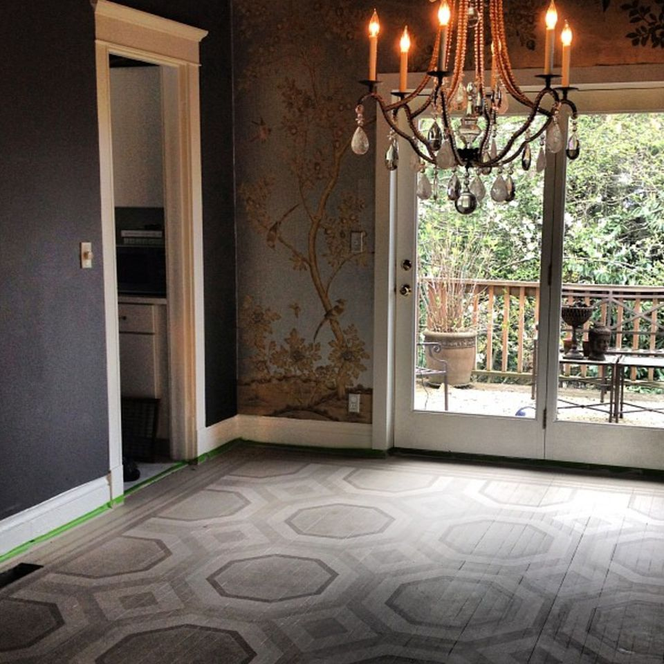 gray designed wood floors