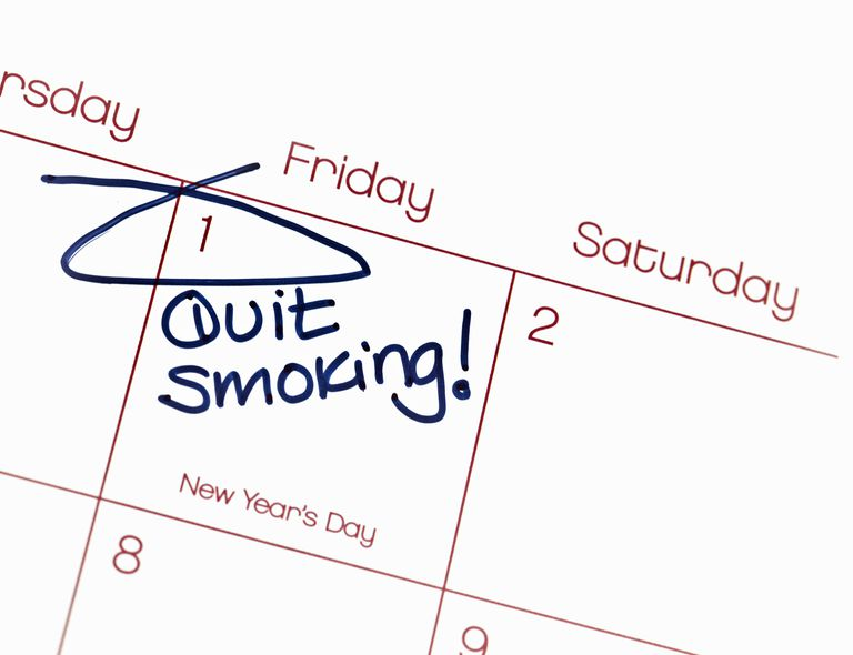 January 1 circled on calendar with words quit smoking