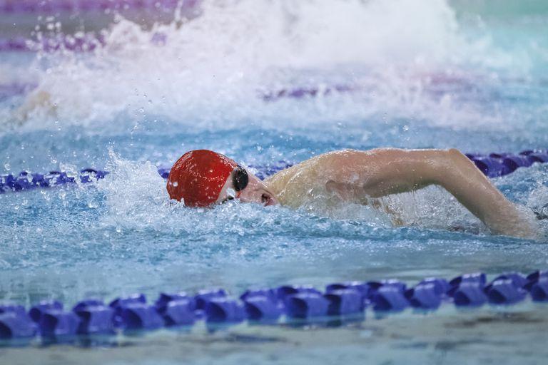 Boy Swimming at Swim Meet