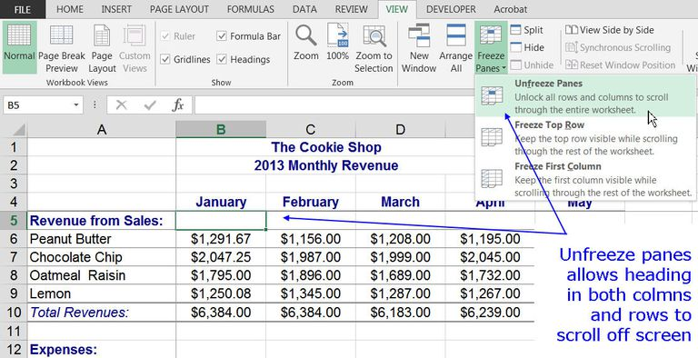 Freeze column and row headings in excel with freeze panes to remove freeze panes from a worksheet ccuart Images