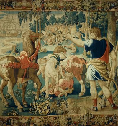 Diomedes Devoured by his Horses, 16th century tapestry from the series Stories of Hercules.