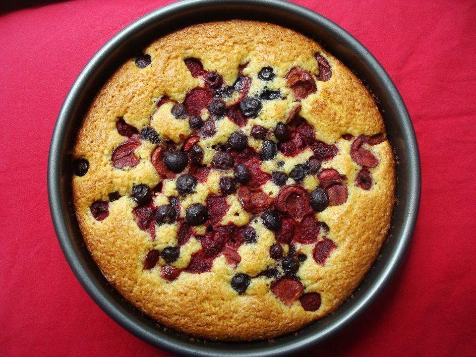 Sunken Berry Cherry Cake