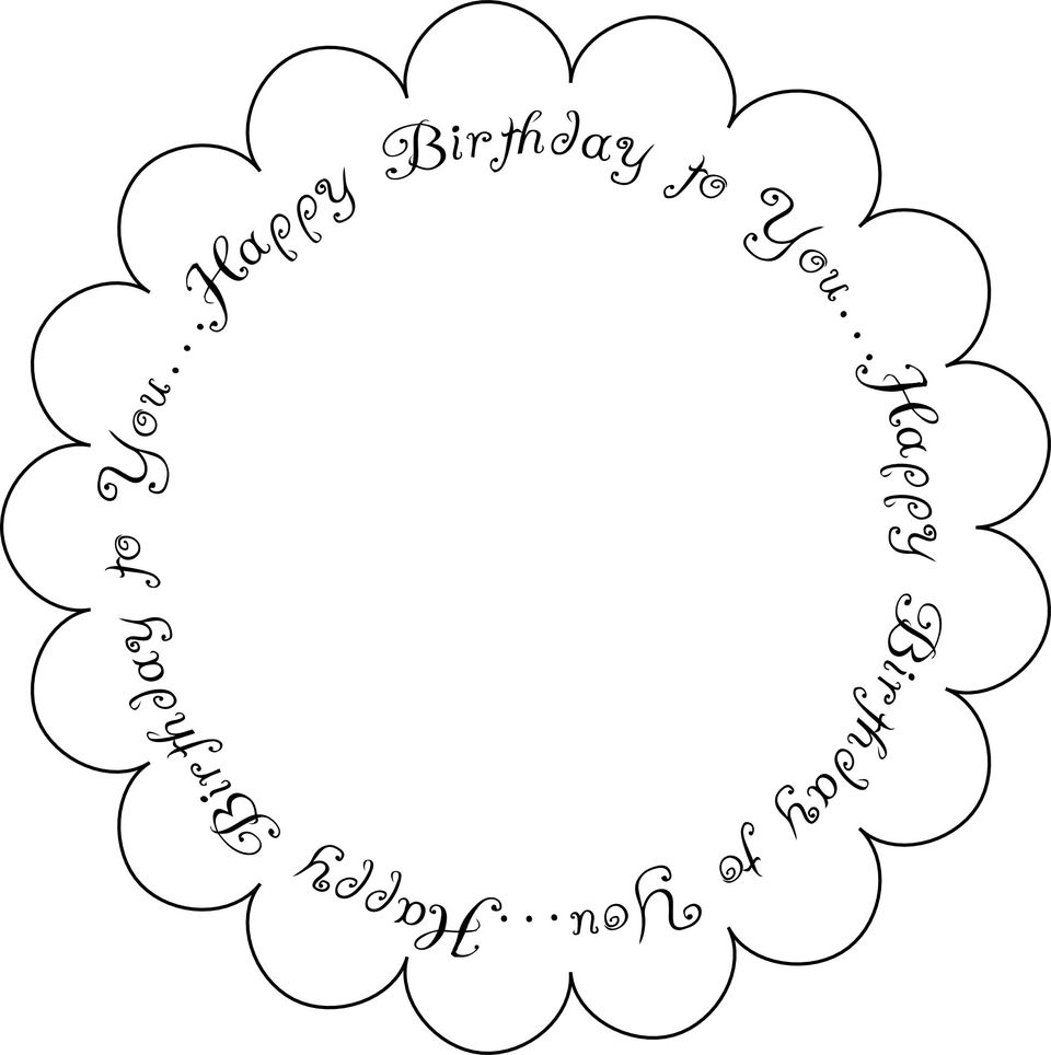 Printable Birthday Sentiment - Scallop Edge 1