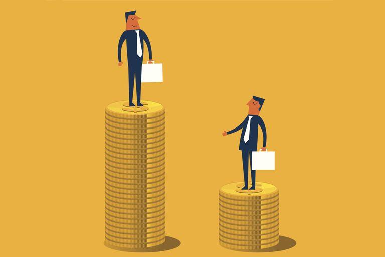 illustration of businessmen standing on coins