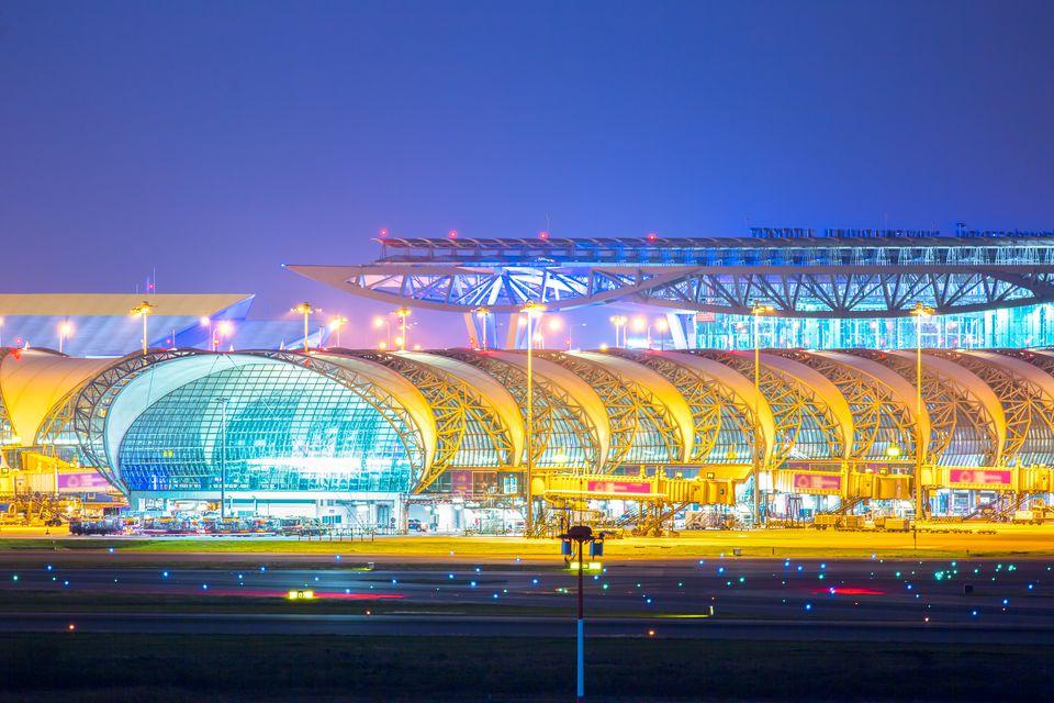 Suwannabhumi Airport at night.