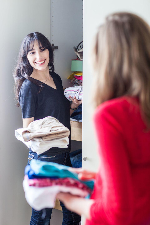 Women cleaning a closet