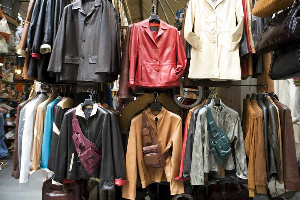 Leather jackets hanging at cloths shop