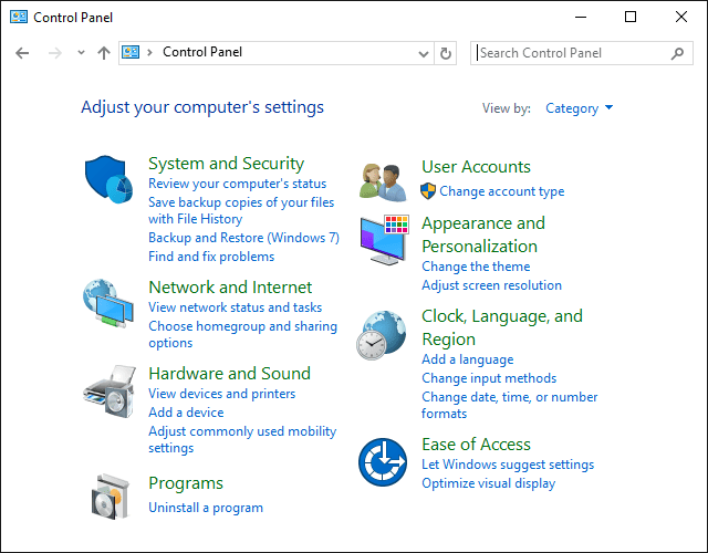 Screenshot of the Control Panel in Windows 10