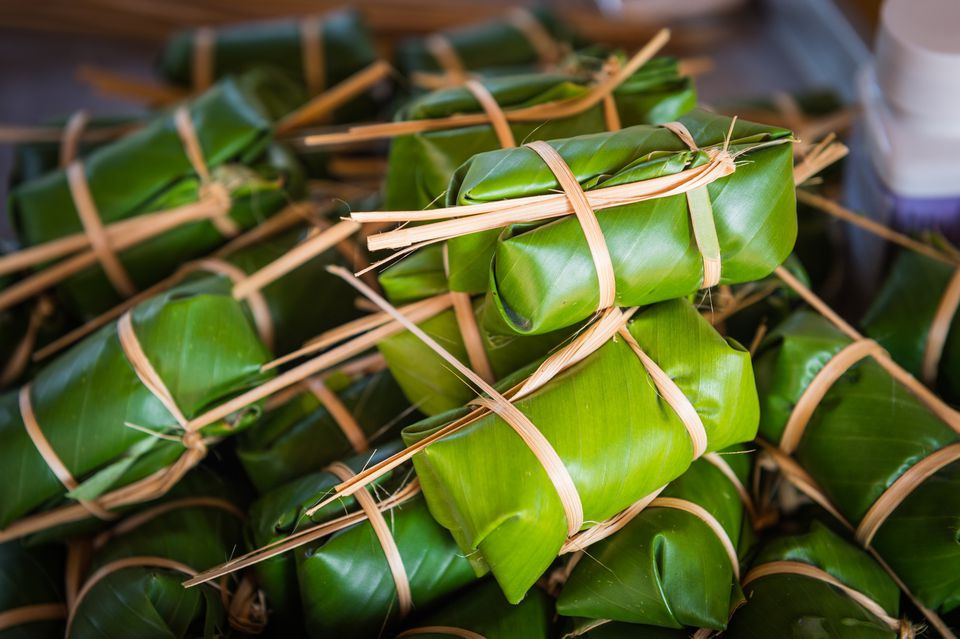 Close-Up Of Food Wrapped In Banana Leaves
