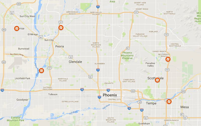 Map of Arizona Fall League Stadiums in Arizona