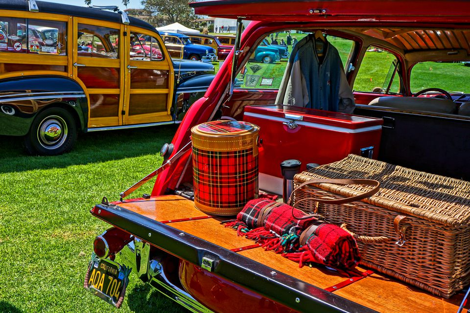 Vintage tailgating gear in a woodie wagon