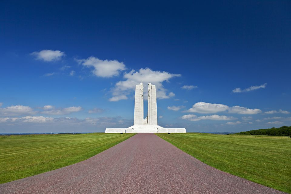 The rear side of the Canadian National Vimy Memorial, approached from the visiters carpark at Givenchy en Gohelle, Nord Pas de Calais, France.