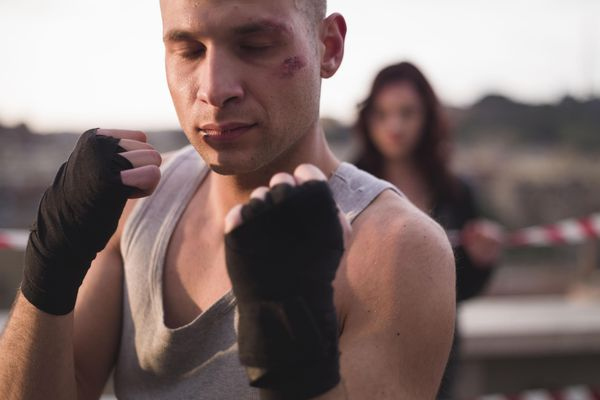 A man prepares his boxing stance