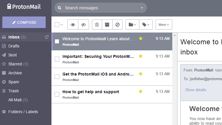 Screenshot of the ProtonMail inbox