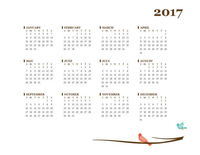 A 2017 Word calendar from Microsoft