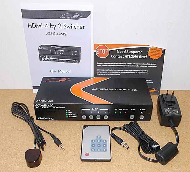Atlona AT-HD4-V42 4x2 HDMI Switch - Front View with Accessories