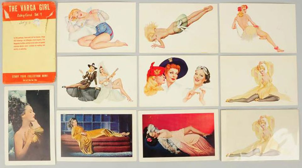The Varga Girl - Esky Cards Sets 1 and 3 illustrated by Alberto Vargas.