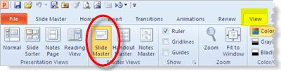 Open the PowerPoint 2010 slide master