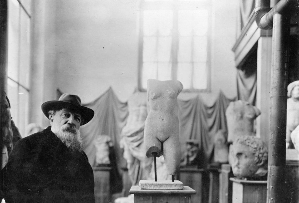 Auguste Rodin with some of his sculptures, 1910.