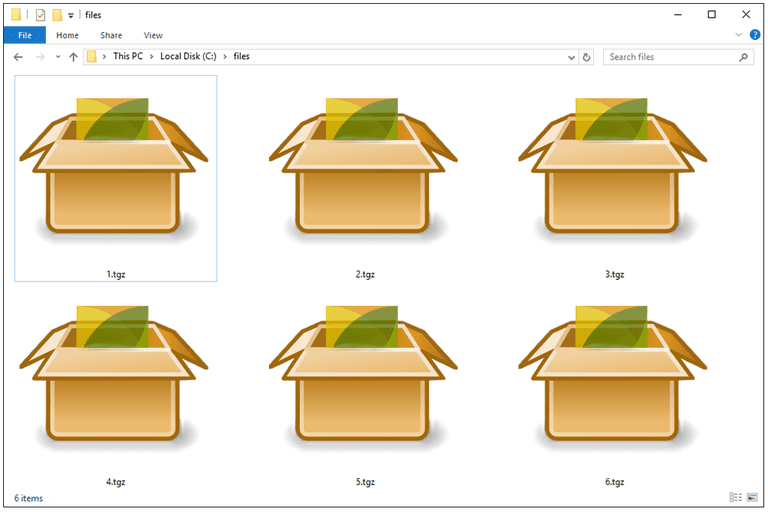 Screenshot of several TGZ files in Windows 10