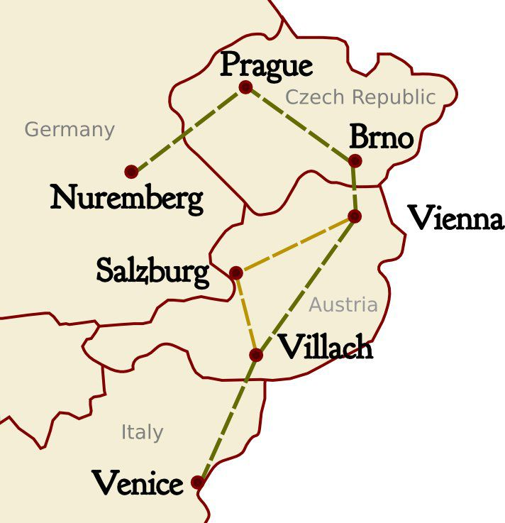 Central Europe Itinerary Map