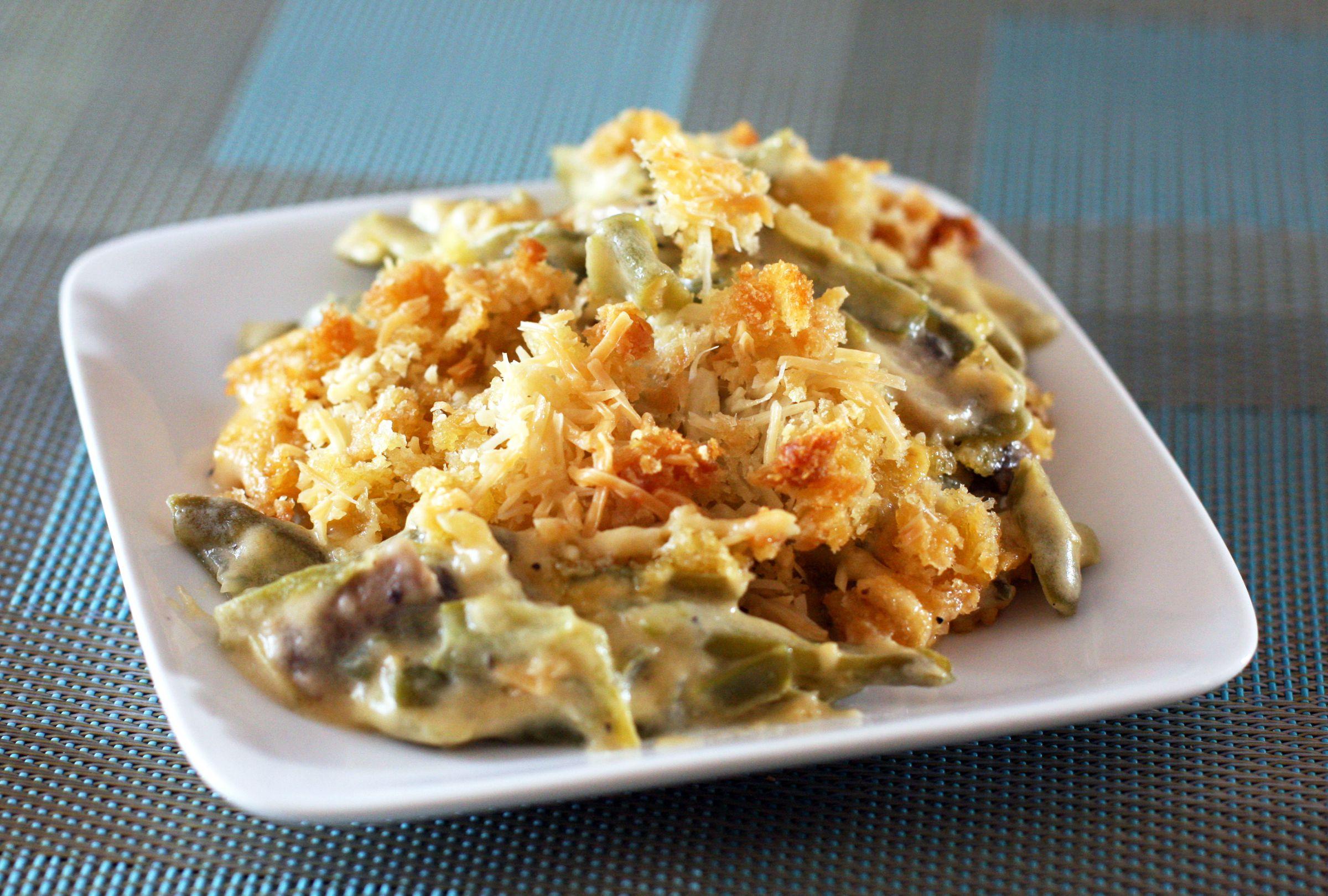 Homemade Cheddar Cheese Green Bean Casserole Recipe