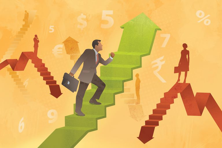illustration graphic showing business people walking up and down arrows