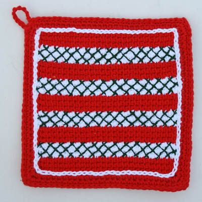 Christmas Crochet Potholder Worked in Tunisian Simple Stitch AKA Afghan Stitch