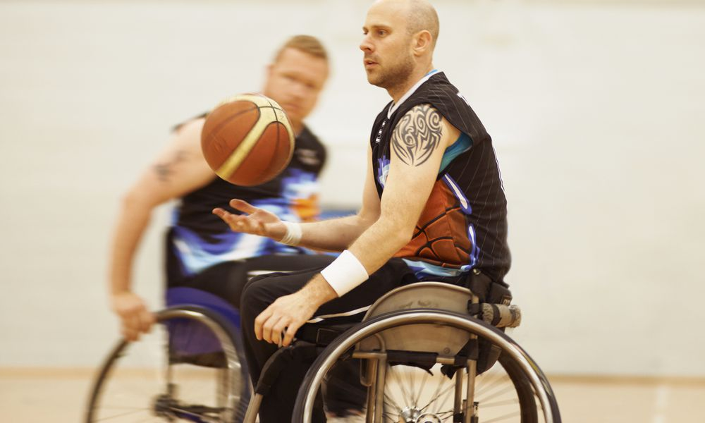 Wheelchair basketball players