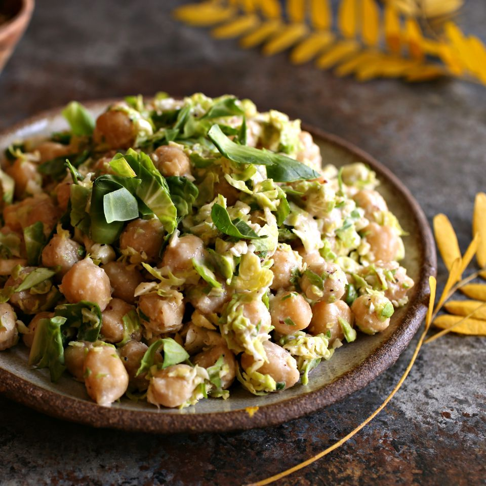 Chickpea and Brussels Sprout Salad with Tahini Dressing
