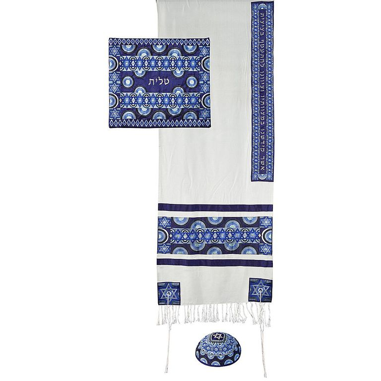 Stars of David: Yair Emanuel Embroidered Raw Silk Tallit