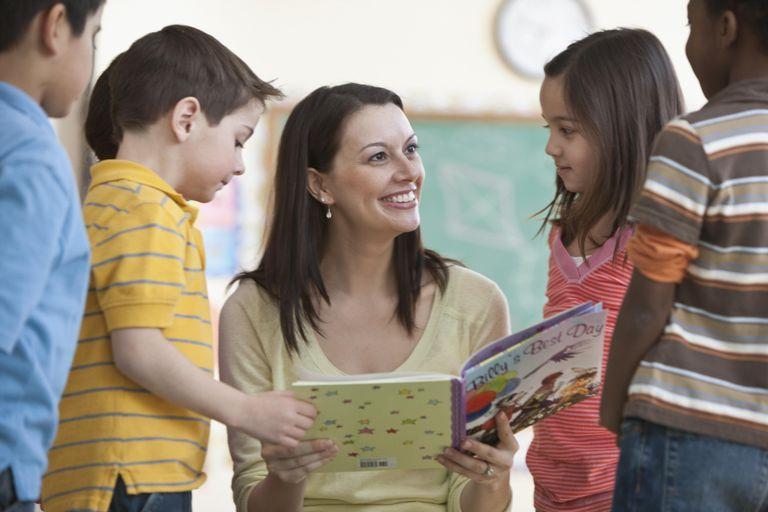 teacher with kindergarten-age kids