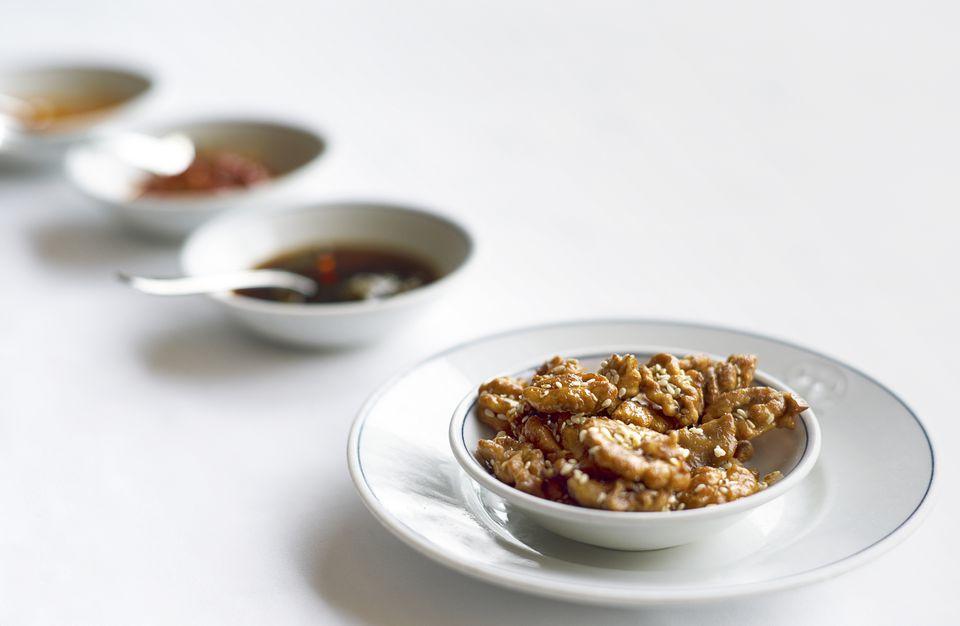 Glazed, penuche walnuts