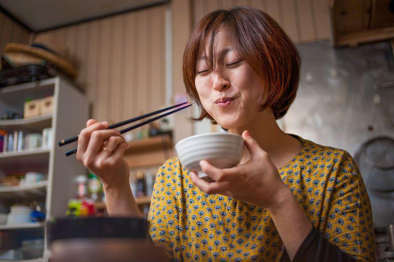 Japanese woman eating