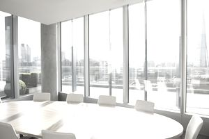 Empty conference room overlooking city