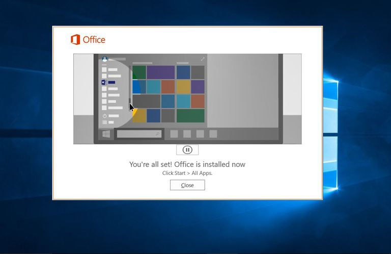 A picture of a successful Microsoft Office installation.