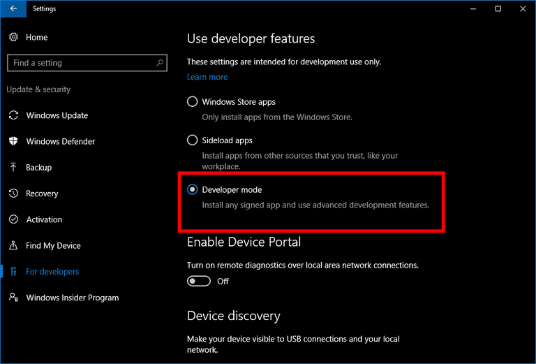 Developer mode Windows 10