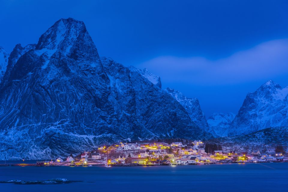 Idyllic coastal village at Reine in winter, Norway