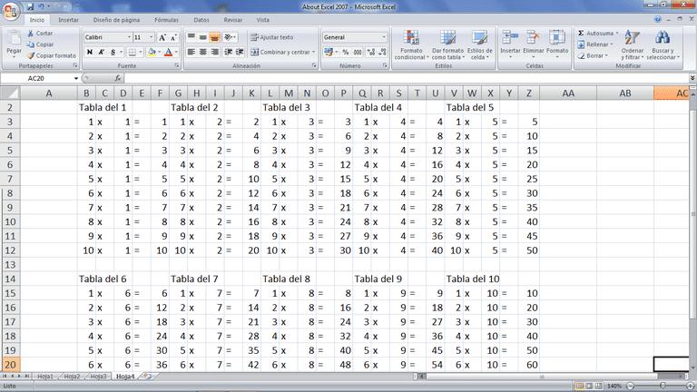 Crea en Excel tablas de multiplicar y compartelas