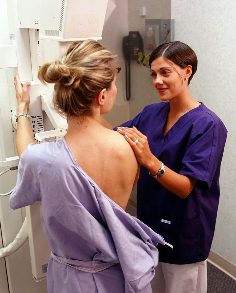 Nurse positioning patient for mammogram