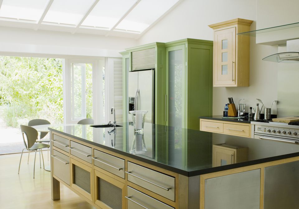 A Kitchen In Green And Yellow Colors Feng Shui