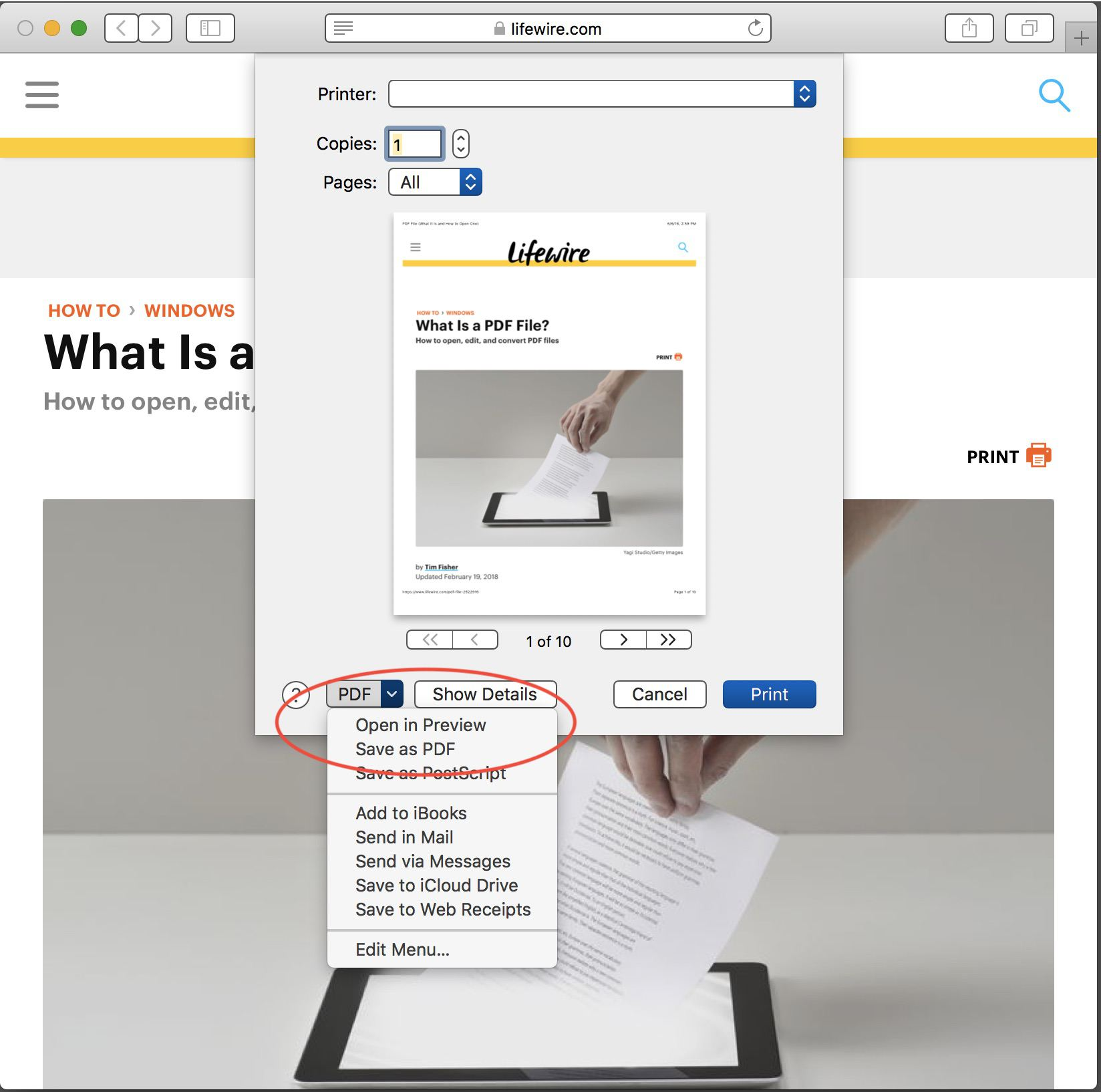Save your page as a PDF