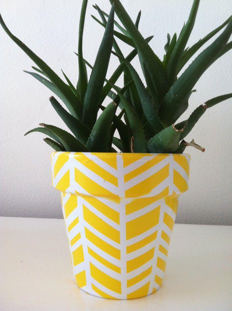 DIY Herringbone Plant Pot