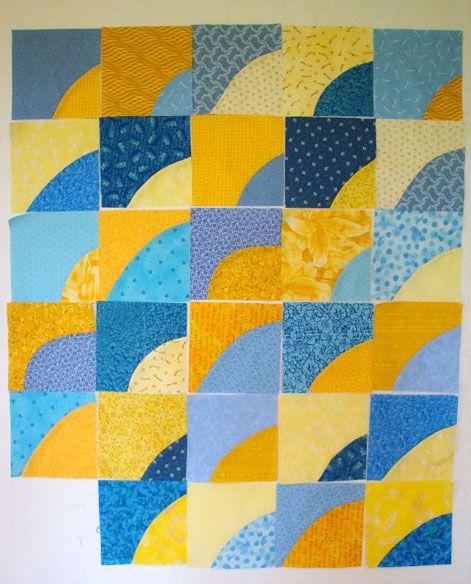 Drunkards path quilt blocks