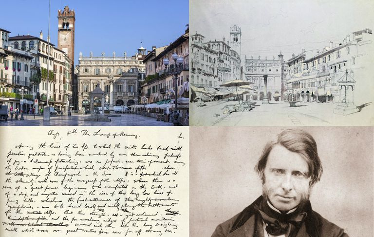 Montage of Verona, Italy, a Ruskin watercolor of Verona, manuscript and Ruskin photo