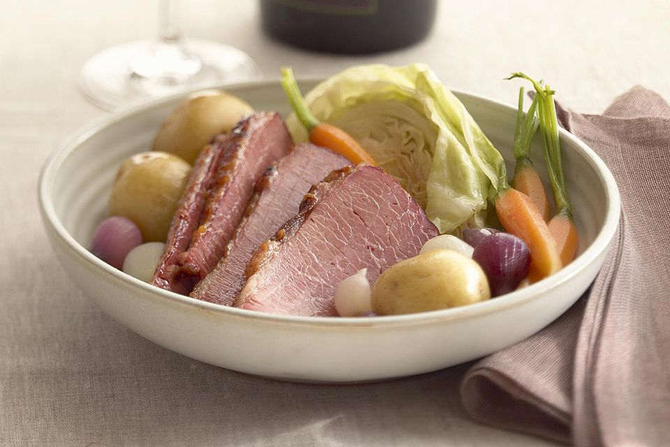 Corned beef with root vegetables and cabbage