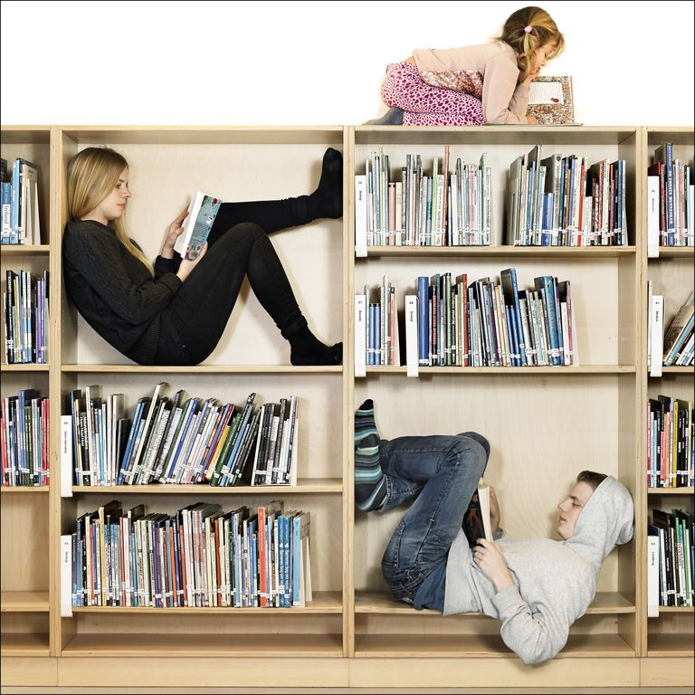Kids sitting in a bookcase reading