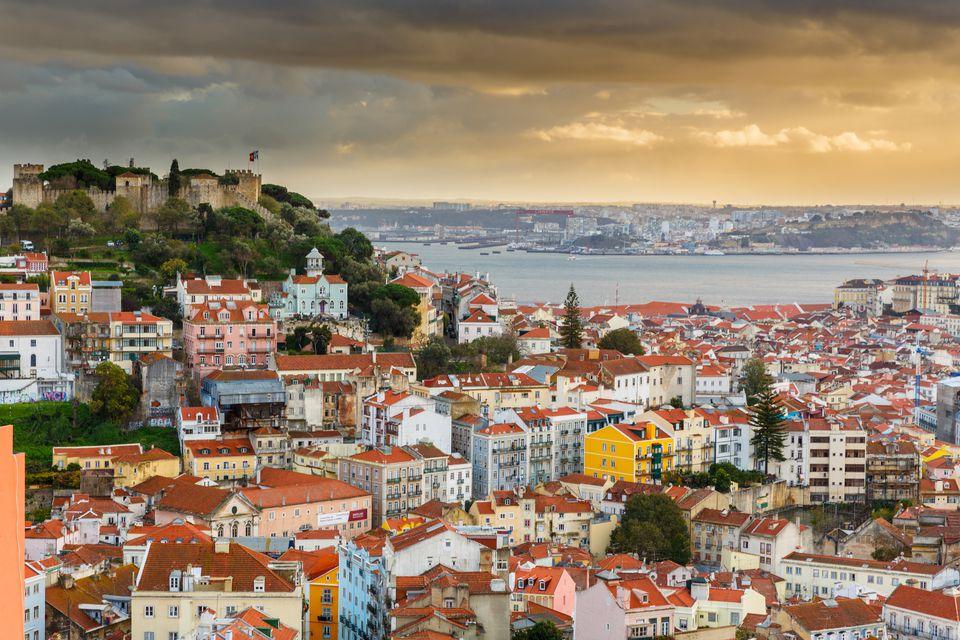 Lisbon bay cityscape on sunset