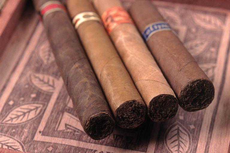 Premium hand rolled cigars on box