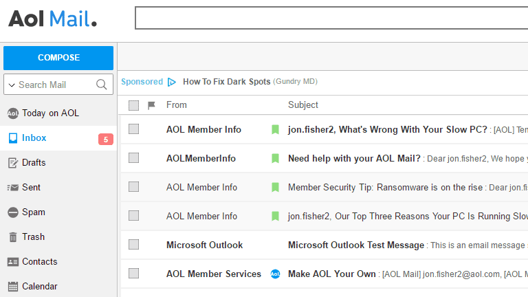 Screenshot of the AOL Mail inbox